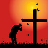Vector silhouette  of man. Vector silhouette of man at the cross at sunset Royalty Free Stock Image
