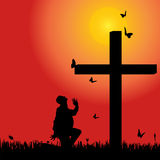Vector silhouette  of man. Vector silhouette of man at the cross at sunset Stock Image
