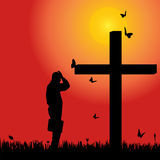 Vector silhouette  of man. Vector silhouette of man at the cross at sunset Royalty Free Stock Photography