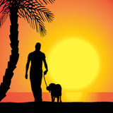 Vector silhouette of a man with a dog. Stock Images