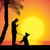 Vector silhouette of a man with a dog. Stock Photo