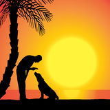 Vector silhouette of a man with a dog. Royalty Free Stock Images