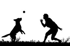 Vector silhouette of a man with a dog. Stock Photography