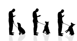 Vector silhouette of a man with a dog. Royalty Free Stock Photo