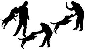 Vector silhouette of a man and dog. Stock Photography