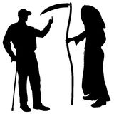 Vector silhouette of a man with the Grim Reaper. Royalty Free Stock Image