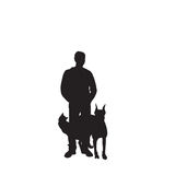 Vector silhouette man and pets stock illustration