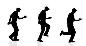 Vector silhouette of a man running. Vector silhouette of a man running on a white background Stock Images