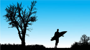 Vector silhouette of a man with surfboard. Stock Photo