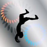 Vector silhouette of a man who dances. Royalty Free Stock Photos