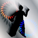 Vector silhouette of a man who dances. Stock Image
