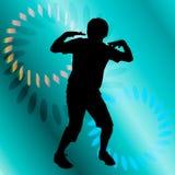Vector silhouette of a man who dances. Stock Photos