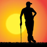 Vector silhouette of a man who plays golf. Stock Photography