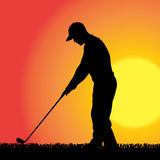 Vector silhouette of a man who plays golf. Royalty Free Stock Photos