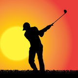 Vector silhouette of a man who plays golf. Stock Photo