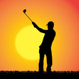 Vector silhouette of a man who plays golf. Royalty Free Stock Photo