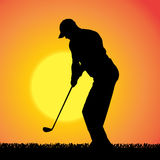 Vector silhouette of a man who plays golf. Royalty Free Stock Photography