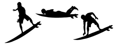 Vector silhouette of a man. Vector silhouette of a man who surfs Stock Image