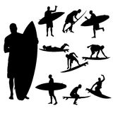 Vector silhouette of a man. Vector silhouette of a man who surfs Royalty Free Stock Photo