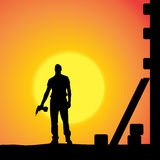 Vector silhouette of a man. Stock Image