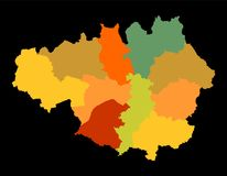 Vector silhouette map of Greater Manchester in North West England. vector illustration
