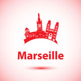 Vector silhouette of Marseille, France. Royalty Free Stock Image