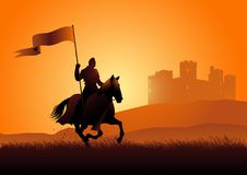 Medieval knight on horse carrying a flag. Vector silhouette of a medieval knight on horse carrying a flag on dramatic scene stock illustration