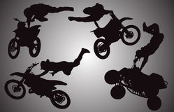 Vector silhouette of motocross. Royalty Free Stock Photo