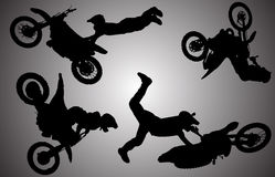 Vector silhouette of motocross. Stock Photography