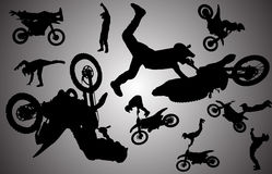 Vector silhouette of motocross. Royalty Free Stock Image