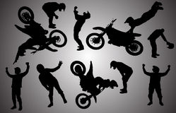 Vector silhouette of motocross. Stock Photo