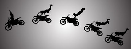 Vector silhouette of motocross. Stock Images