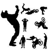 Vector silhouette of a motocross rider. Royalty Free Stock Image
