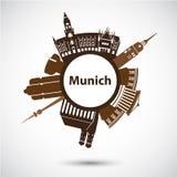 Vector silhouette of Munich. Circular logo Royalty Free Stock Photo