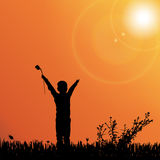Vector silhouette of nature. Vector silhouette of children on nature at sunset Stock Photos