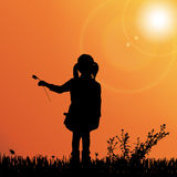 Vector silhouette of nature. Vector silhouette of children on nature at sunset Royalty Free Stock Photography