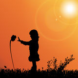 Vector silhouette of nature. Vector silhouette of children on nature at sunset Royalty Free Stock Photos