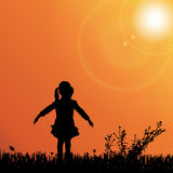 Vector silhouette of nature. Vector silhouette of children on nature at sunset Stock Photo
