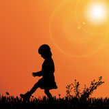 Vector silhouette of nature. Vector silhouette of children on nature at sunset Stock Images