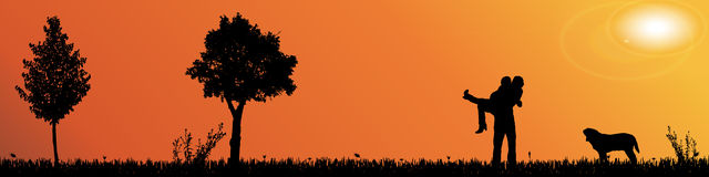 Vector silhouette of nature. Royalty Free Stock Photos