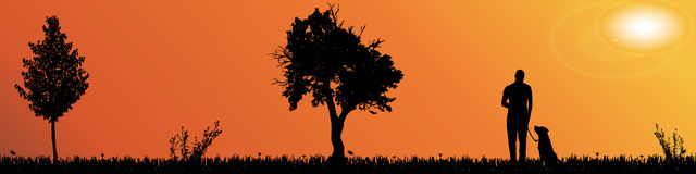 Vector silhouette of nature. Stock Photos