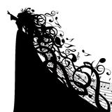Vector Silhouette Of Woman With Musical Symbols Royalty Free Stock Photography