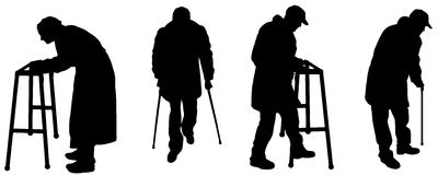 Vector silhouette old people Royalty Free Stock Images