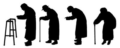 Vector silhouette old people Stock Images