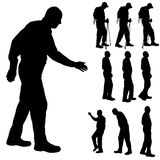 Vector silhouette of old people. Royalty Free Stock Photos