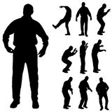 Vector silhouette of old people. Royalty Free Stock Images