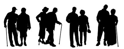 Vector silhouette of old people. Stock Photo