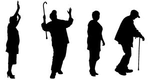 Vector silhouette of old people. Stock Image