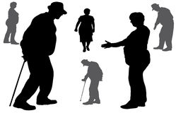 Vector silhouette of old people. Stock Images