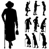 Vector silhouette of old people. Royalty Free Stock Image